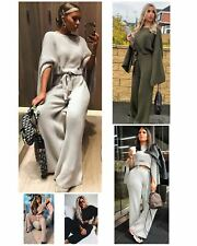 Women Split Arm Crop Knitted Top Wide Leg Trouser Ladies Co-ord Two Piece Suit