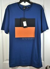 NWT MENS HUGO BOSS NAVY BURT 99 SHORT SLEEVE CREW NECK REGULAR FIT T SHIRT L, XL