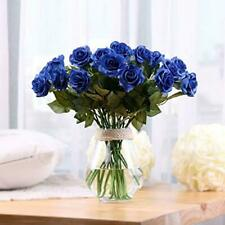 Artificial Roses Blue Flowers Real Touch Rose 10PC Silk Bouquet Home Decor