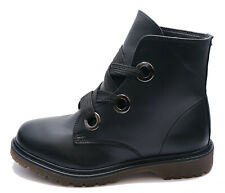 WOMENS BLACK ANKLE FLAT LACE-UP ARMY COMBAT DOC ANKLE CALF DM BOOTS SHOES UK 3-8