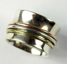 Spinner Silver Bronze Rose,Gold Plated Plain Band Ring, 925 Silver Filigree Ring