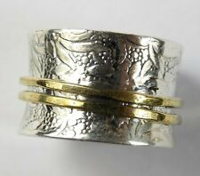 925 Sterling Silver Filigree Vintage Hammered Spinner Ring With Gold Plated Ring