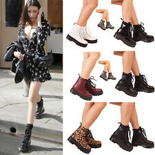 Ladies Womens Walking Ankle Boots Lace Up Designer Doc Shoes Block Heel Size 3-8