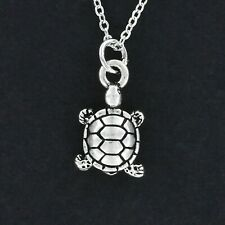 Turtle Necklace - Pewter Charm on Chain Ocean Sea Beach Reptile Tortoise NEW