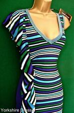New KAREN MILLEN Blue Green Stripe Stretch RUFFLE KNIT BodyCon Dress - 6 8 10 12