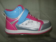 Girl's Air-Tech Hi Top Trainer In White/Pink/Blue/Silver 'Rent'