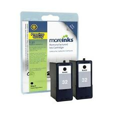 2 Remanufactured No.32 Black Ink Cartridges for Lexmark Printers