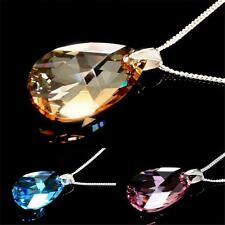 925 SILVER CURB NECKLACE WITH GENUINE SWAROVSKI ELEMENTS, PEAR CRYSTAL PENDANT