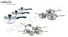 3/5 STAINLESS STEEL SAUCEPAN COOKWARE SET POTS PANS WITH GLASS LIDS COOKING