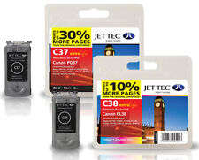 2 Remanufactured Jettec PG-37 / CL-38 Ink Cartridges for Canon Pixma Printers