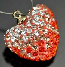 1x Rhinestone Crystal Pave Clay Disco Heart Penddant Charm Beads 20mm
