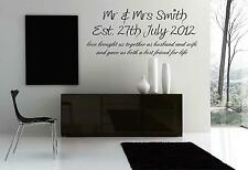 HUSBAND AND WIFE WALL ART DECAL STICKER CHOOSE FROM 21 DIFFERENT  COLOURS