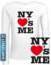 Shirtstreet24, NY LOVES ME, I Love NY Lady / Girlie Longsleeve Langarm T-Shirt