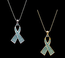 CRYSTAL TEAL RIBBON BOW OVARIAN CANCER AWARENESS PENDANT CHARM NECKLACE