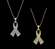 CRYSTAL PERIWINKLE RIBBON BOW STOMACH CANCER AWARENESS PENDANT CHARM NECKLACE