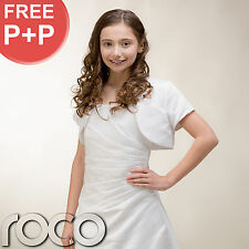 Girls White First Holy Communion Pleated Dress with Embroidered Sequin & Bolero