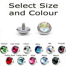 DERMAL ANCHOR HEAD FLAT CZ CRYSTAL GEM SELECT SIZE & COLOUR 316L SURGICAL STEEL