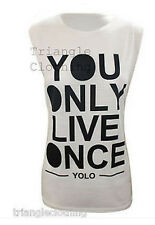 Ladies Womens YOLO The Motto T Shirt Tee Vest You Only Live Once Top Drake