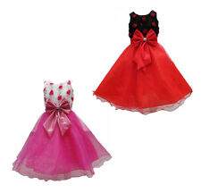 New Girls Flower Pink Red Formal Wedding Bridesmaid Party Size Dress Age 3-12