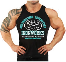 BLACK TEAM IRONWORKS  BODYBUILDING VEST WORKOUT GYM CLOTHING  FITNESS K-119