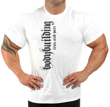 BODYBUILDING T-SHIRT WORKOUT  GYM CLOTHING WHITE J-102