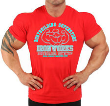 RED  TEAM IRONWORKS BODYBUILDING T-SHIRT WORKOUT  GYM CLOTHING J-111