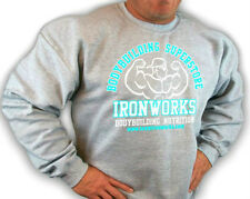 GREY TEAM IRONWORKS BODYBUILDING CLOTHING SWEATSHIRT  GYM WORKOUT FITNESS D-30