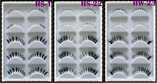 5 Pairs Black Natural Thick False Eyelashes Fake Eye Lashes Free Glue Make Up