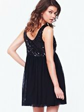 Love Label Sequin & Netting Prom Party Evening Dress Gown in Black Size 8