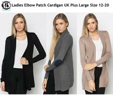 LADIES PLUS SIZE12-20 ELBOW PATCH LONG KNIT CARDIGAN SWEATER TUNIC TOP DRESS VTG