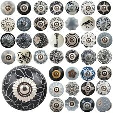 BLACK GREY Ceramic Knobs Vintage Shabby Chic Door Handles Cupboard Drawer Pulls