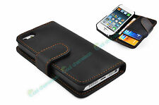 Black Leather Flip Case Wallet Shockproof Cover Stand for New iPhone 5S, 5, 4 4S
