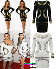 Kim Kardashian Celeb Gold Foil Print Ladies Bodycon Short Mini Women Party Dress