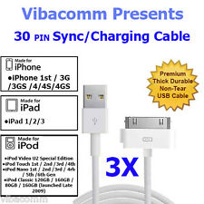 3 x USB DATA SYNC CHARGING CHARGER CABLE LEAD FOR iPhone 4 4S 3G 3GS iPad 2 iPod