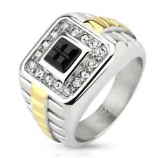 Unisex Ring Silver Gold Black Zirconia Stainless Steel New Jewelry from coolbody