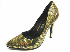 "Ladies Spot On Gold Metallic Snake Skin Pointed Court Shoes with 4.5"" Heel F9590"