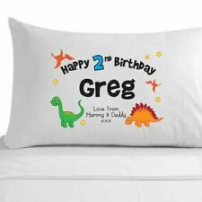 Personalised Boys 4th, 5th, 6th, 7th, 8th birthday dinosaur pillowcase gift