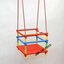 WOODEN SWING NATURAL / COLOUR GARDEN INDOOR OUTDOOR CHILDREN SWING FROM EU