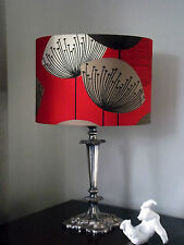 """12""""/30cm Lamp/Ceiling Shade Made With Sanderson Dandelion Clocks Red Fabric"""