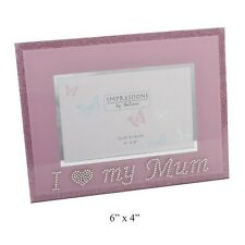 I Love My Mum Grandma or Nan Photo Frame Pink Glass with Diamantes 6x4""