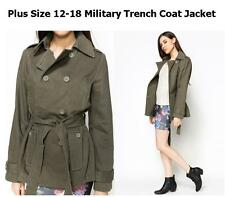 LADIES PLUS SIZE 8-18 MILITARY GREEN LONG TRENCH COAT PARKA JACKET COMBAT BLAZER