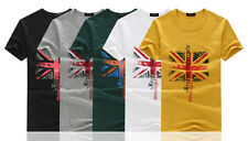 Mens Designing Union Flag Shorts Sleeves Casual Cotton Top Soft T-Shirt Beach