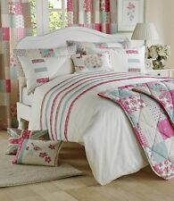 Petticoat Patchwork Floral Roses Cream Pink Teal Duvet Cover Quilt Bedding Set