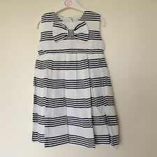BNWT Girls Navy and White Cotton Dress Age 2-3, 3-4, 5-6, 6-7 Years *FREE P&P*