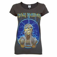 Official Amplified Womens Iron Maiden Mummy Rock T Shirt Charcoal NEW