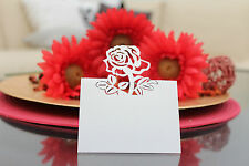 Laser- Cut Rose wedding Place Name Cards in White or Ivory pack of 50