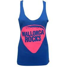 OFFICIAL Mallorca Rocks: Plectrum Racerback Women's Vest Tank Blue Black RRP £50