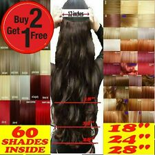 Clip in Hair Extensions Half Full Head One Piece Curly Straight Real Synthetic