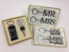 MR AND MRS BOTTLE STOP AND OPENER GIFT SET/KEY RING SET