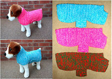 Hand Knitted Chunky Dog Coat, Jumper. Small to Medium, Blue, Green, Pink, Red.